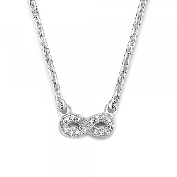 Halskette Collier echt Silber 925 rhodiniert 45 cm verstellbar mit Infinityanhänger