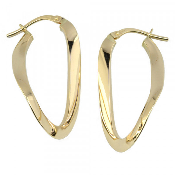 moderne Damen Ohrringe Creolen Bügelcreolen echt Gold 375, 9 kt