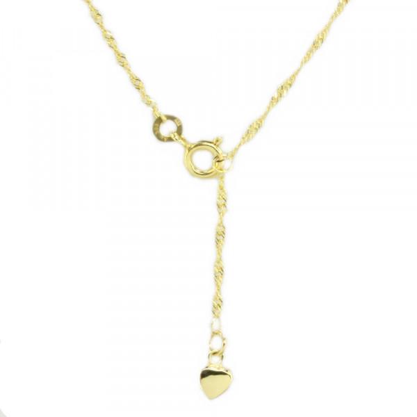 Damen Fußkette Fußkettchen echt Gold 333 Singapurkette mit Herz 25,5 cm