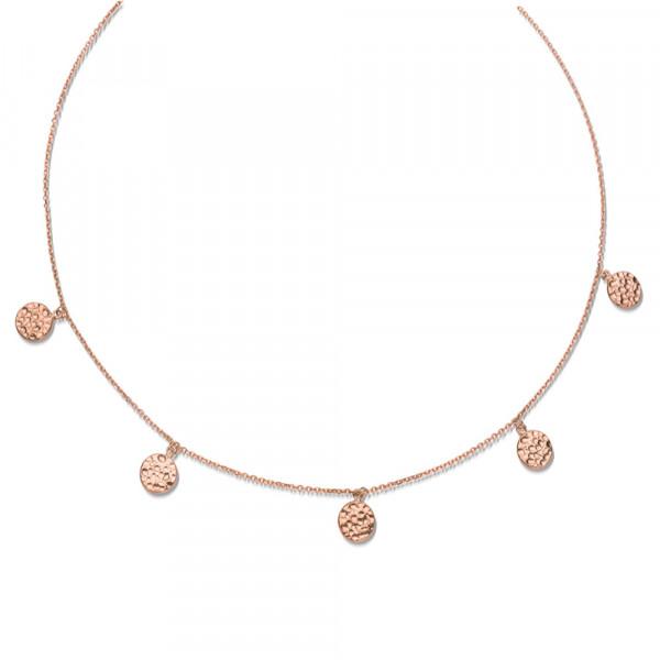 Damen Halskette Collier echt Silber 925 rose' 44 cm Plättchen mit Hammerschlag