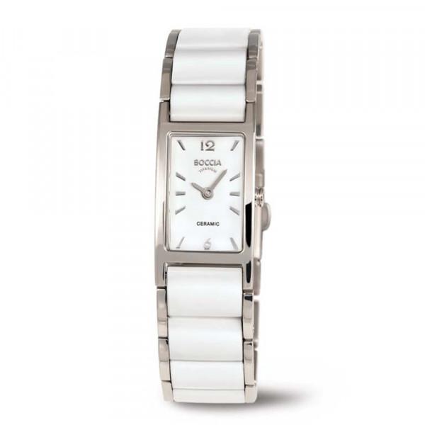 Damenuhr Armbanduhr Titan und weißer Keramik BOCCIA TITANIUM Modell 3201-01