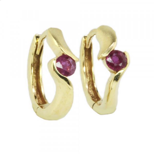 Damen Ohrringe Creolen Klappcreolen echt Gold 333 8kt mit echten Rubin