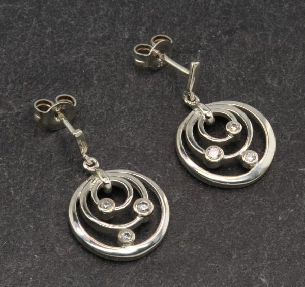 Damen Ohrringe Ohrstecker echt Silber 925 mit weißen Zirkonia