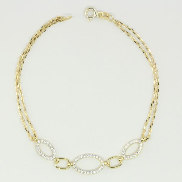 zweireihiges Damen Armband Armkette echt Gold 333 8 kt Länge 18,5 cm