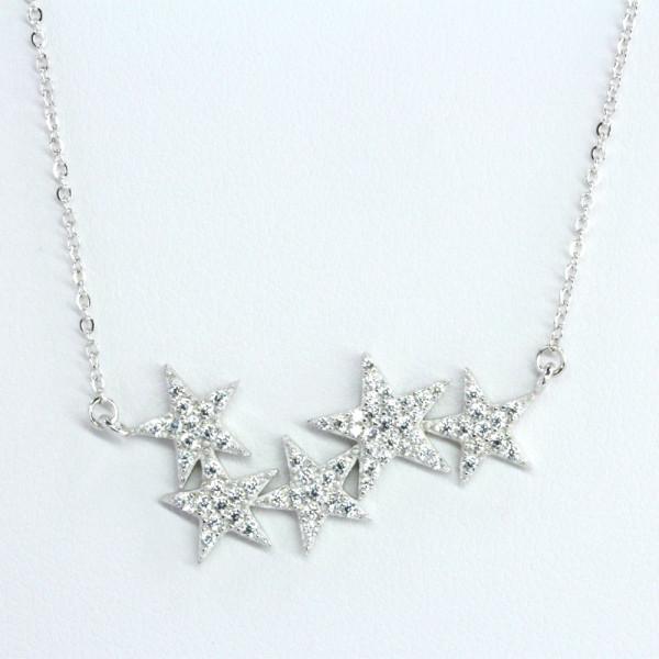 Damen Halskette Kette Collier echt Silber 925 rhodiniert Motiv Stern