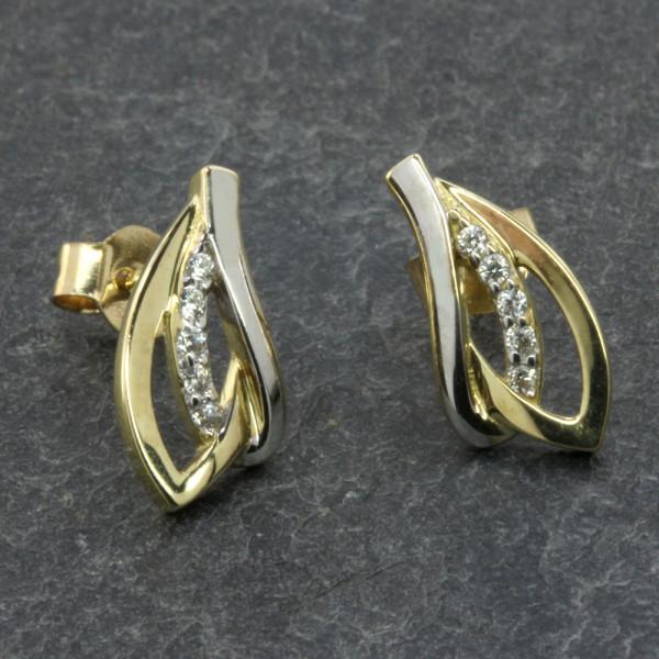 Damen Ohrringe Ohrstecker echt Gold 333 (8 kt) mit Zirkonia