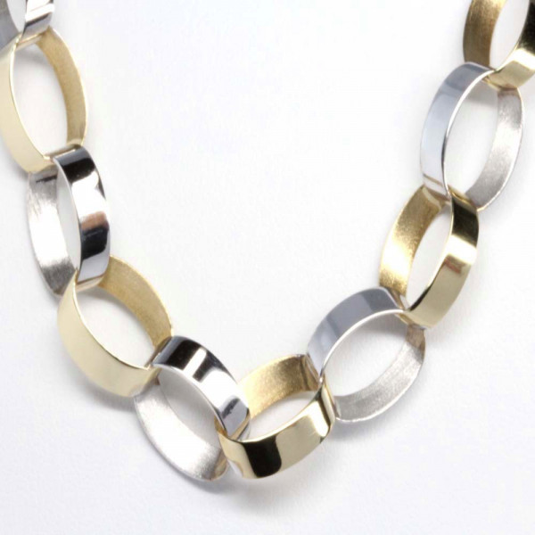 Schmuck Damen Armband Armkette echt Gold 333 bicolor 8 ct 19 cm