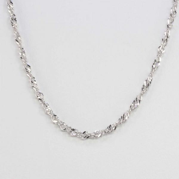 Damen Halskette Kette Collier echt Silber 925 Singapur rhodiniert 3 mm breit