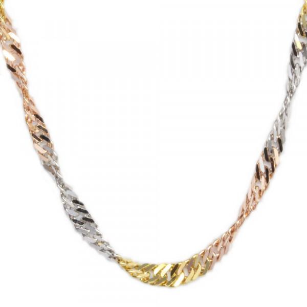 massive Damen Halskette Kette echt Gold 333, 8 kt Singapur dreifarbig
