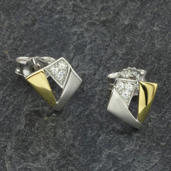 Ohrringe Ohrstecker echt Silber 925 rhodiniert bicolor mit Zirkonia