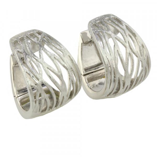 Massive hochwertige Damen Creolen Klappcreolen echt Silber 925 rhodiniert