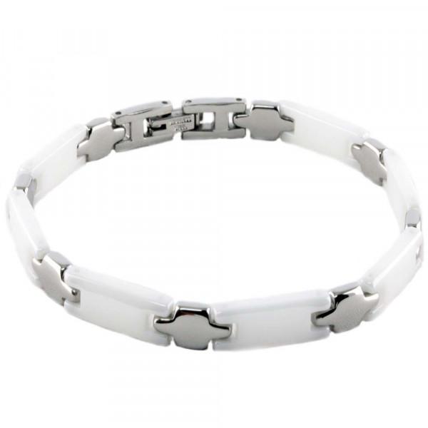 Schmuck Damen Armband Armkette aus weißer Keramik und Edelstahl