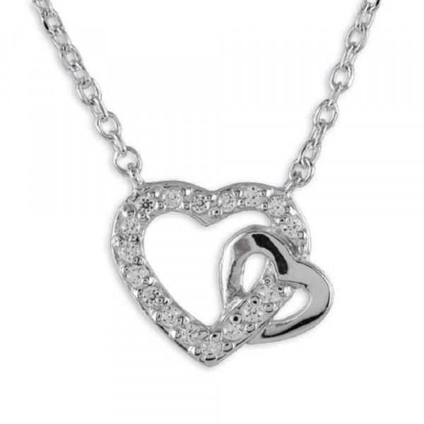 Damen Halskette Kette Collier echt Silber 925 Sterlingsilber 42,5 cm Motiv Herz