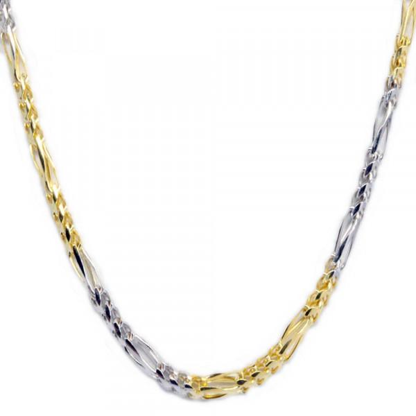 Collier Halskette Kette echt Gold 333 (8 kt) bicolor Figaro rund 42 cm lang