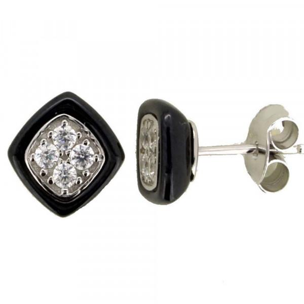 Damen Ohrringe Ohrstecker aus echt Silber 925 und schwarzer Keramik