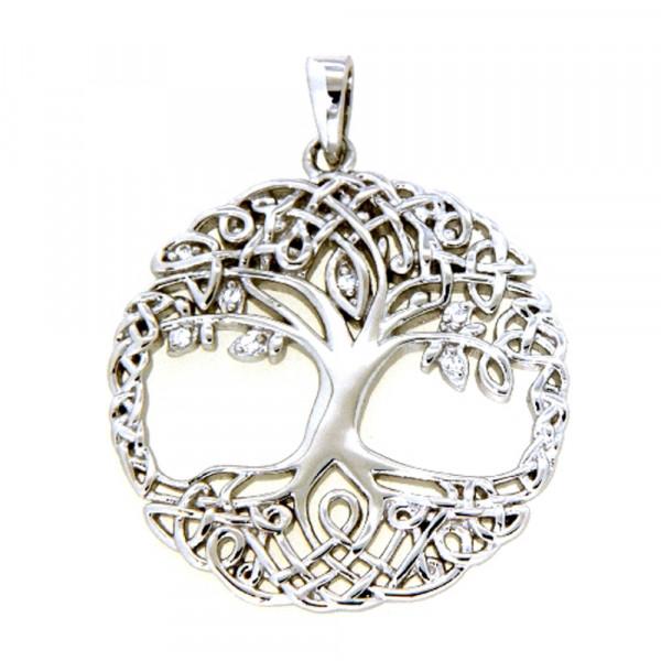 Damen Ketten Anhänger echt Silber 925 rhodiniert Motiv Lebensbaum