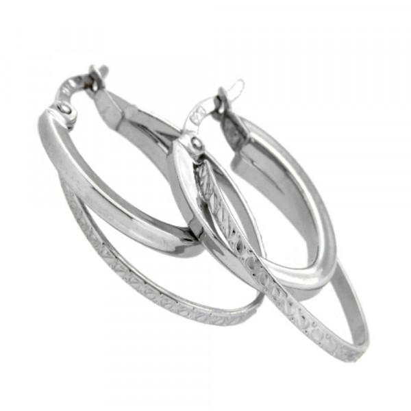 Damen Ohrringe ovale Creolen Bügelcreolen echt Silber 925 rhodiniert