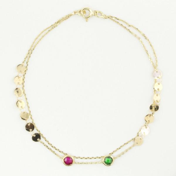 Damen Armband Armkette echt Gold 333 mit roten und grünen Zirkonia 19 cm
