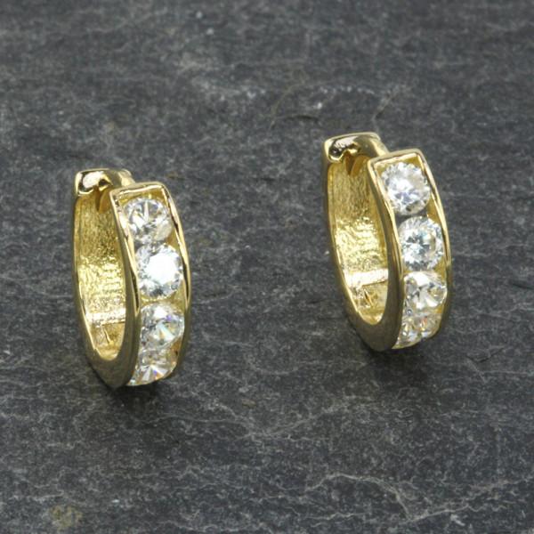 Damen Ohrringe Creolen Klappcreolen echt Gold 333 mit Zirkonia in weiß
