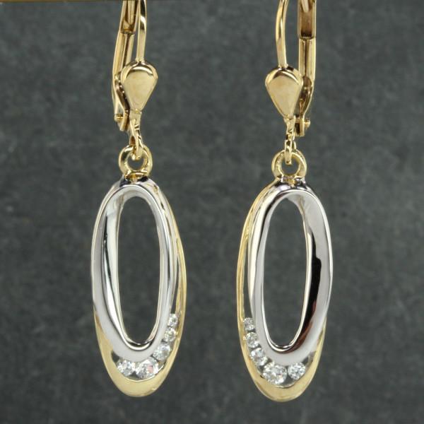Damen Ohrringe Ohrhänger echt Gold 333 (8kt) mit Zirkonia in bicolor