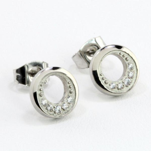 Schmuck Damen Ohrringe Ohrstecker Titan Titanium mit Zirkonia