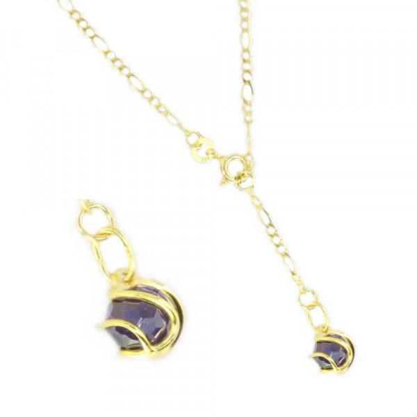 Fußkette Fußkettchen echt Gold 333 8 ct Länge 25 cm mit Zirkonia in lila