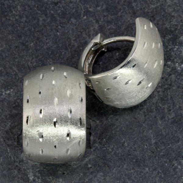 Diamantierte Damen Creolen Klappcreolen echt Silber 925 rhodiniert
