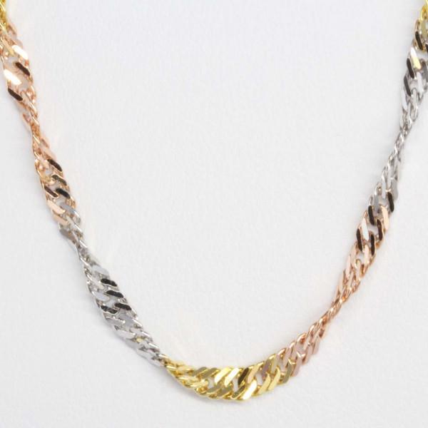 Damen Armband Armkette Singapur echt Gold 333 tricolor dreifarbig 21 cm