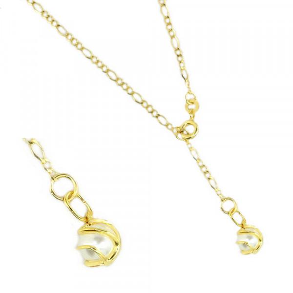 Fußkette Fußkettchen echt Gold 333 8 ct Länge 25 cm mit Anhänger Perle