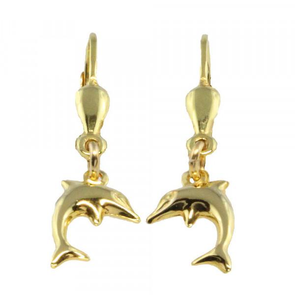Damen Ohrringe Ohrhänger Ohrpendel 8kt echt Gold 333 mit Delphin
