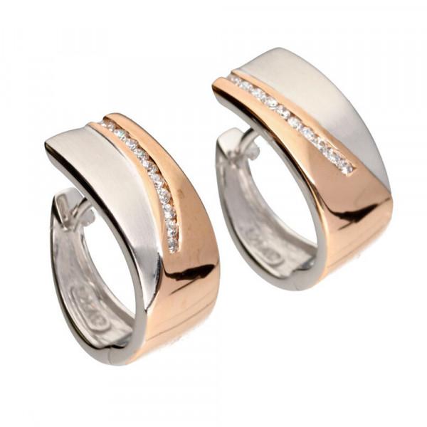 Damen Creolen Klappcreolen echt Silber 925/rhodiniert und rose' teilvergoldet