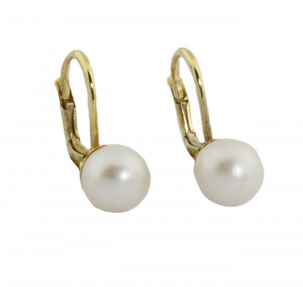 Damen Button Ohrringe Ohrhänger echt Gold 585 (14 kt) mit Süßwasserperle