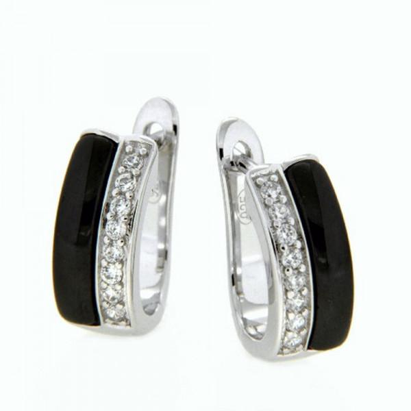 Damen Ohrringe Creolen Klappcreolen echt Silber 925 mit schwarzer Keramik