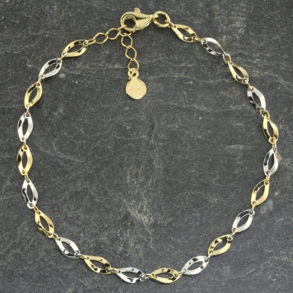 Damen Armband Armkette echt Gold 333 (8 kt) in bicolor 18 + 2 cm lang