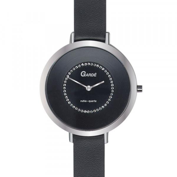 Damenuhr Armbanduhr von Garde' Design 3 atm mit schwarzem Lederband
