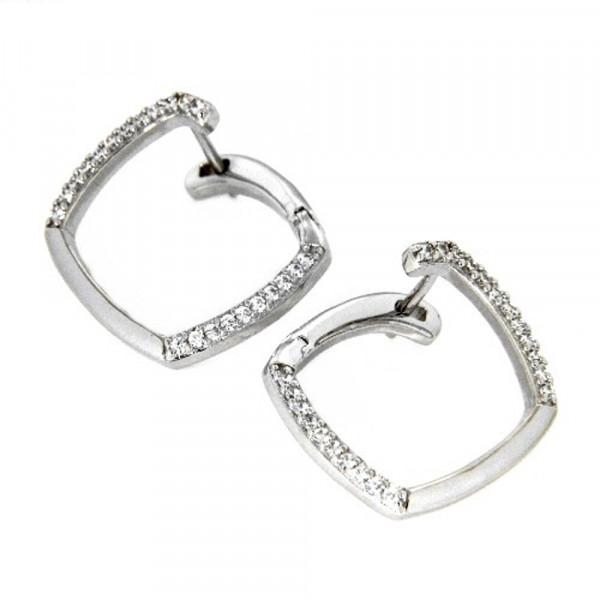 Damen Ohrringe Creolen Klappcreolen echt Silber 925 rhodiniert Zirkonia