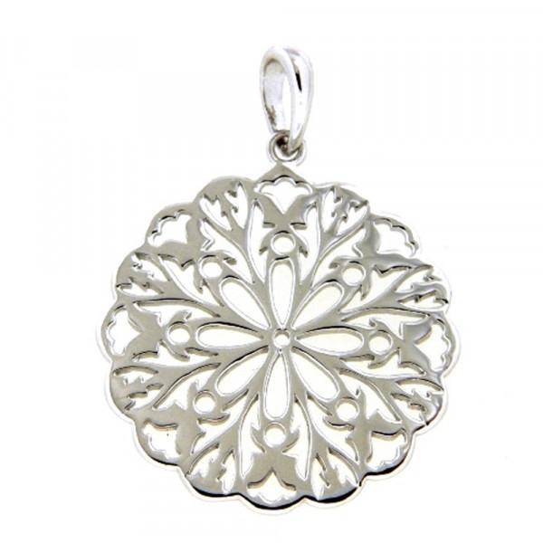 Damen Ketten Anhänger echt Silber 925 rhodiniert Motiv Lebensblume