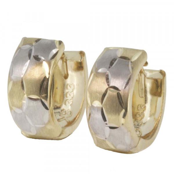 Damen Ohrringe Creolen Klappcreolen echt Gold 333 8kt in bicolor