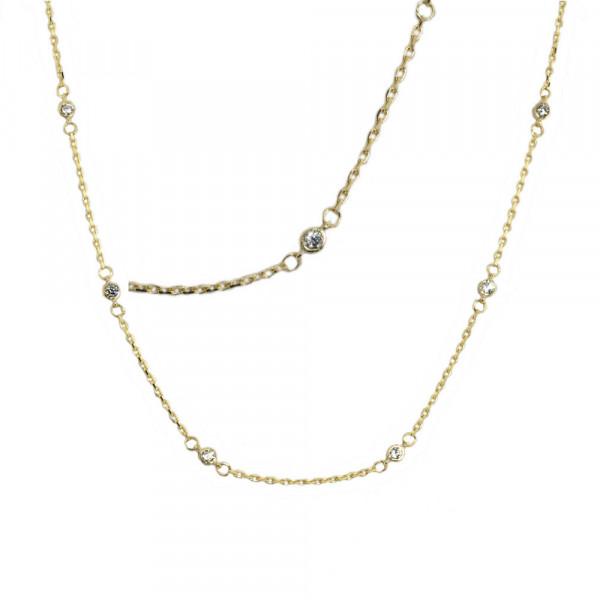 Collier Halskette mit Zirkonia echt Gold 333 (8 kt) 45 cm Länge verstellbar