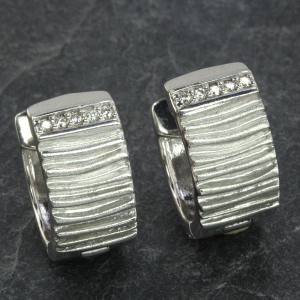 Damen Creolen Klappcreolen echt Silber 925 rhodiniert mit Zirkonia