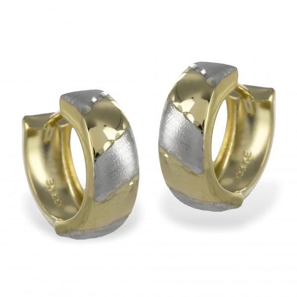 Damen Ohrringe Creolen Klappcreolen echt Gold 333 8 kt in bicolor