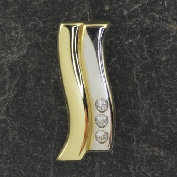 Anhänger Kettenanhänger zweifarbig echt Gold 333 (8 kt) mit Zirkonia