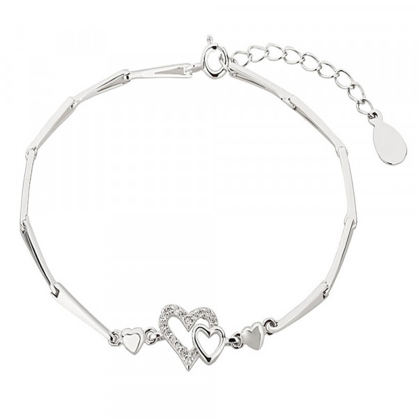 Damen Armband Armkette echt Silber 925 rhodiniert mit Herz