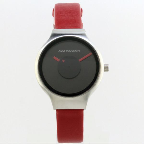 Damenuhr Armbanduhr von Adora Design 3 atm mit roten Lederband