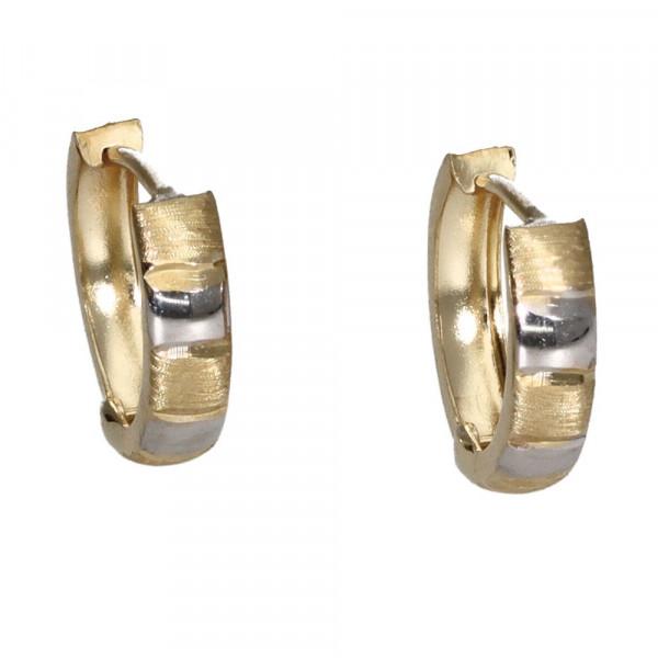Ohrringe Creolen Klappcreolen echt Gold 333 (8 kt) in bicolor