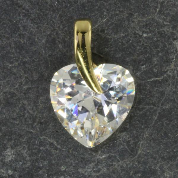 Anhänger Kettenanhänger echt Gold 333 (8 kt) mit weißem Zirkonia in Herzform