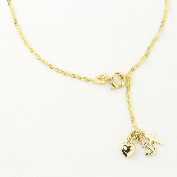 Fußkette Fußkettchen echt Gold 333 Singapurkette mit Seemannsgrab 25,5 cm