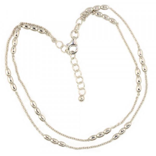 Damen Fußkette Fußkettchen Anker zweireihig Silber 925 rhodiniert 26 cm lang