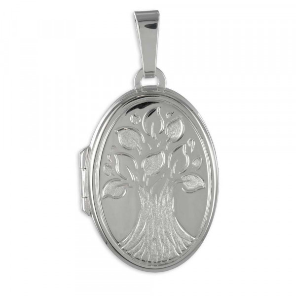 Damen Ketten Anhänger Foto Bild Medaillon Amulett oval echt Silber 925 mit Lebensbaum