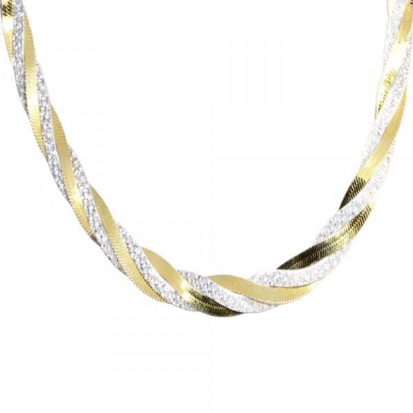 Damen Kette Collier echt Silber 925 rhodiniert bicolor Zopfmuster